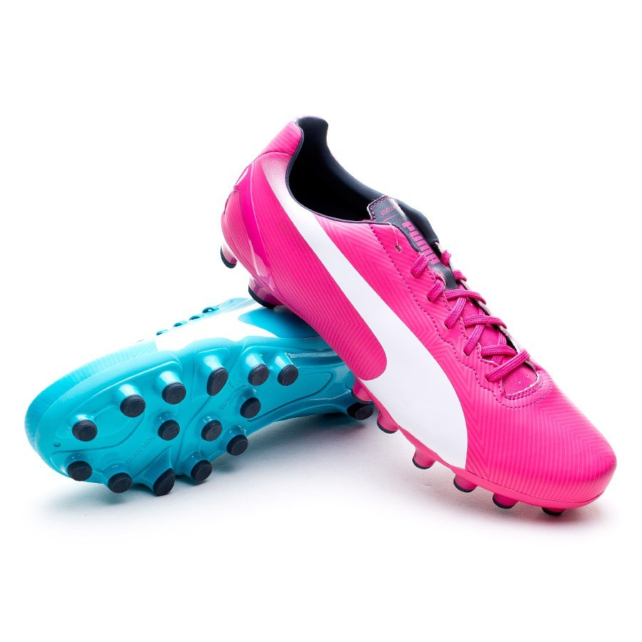 d9f45174f13 Football Boots Puma Jr evoSPEED 4.2 AG Fuchsia-Blue - Football store ...