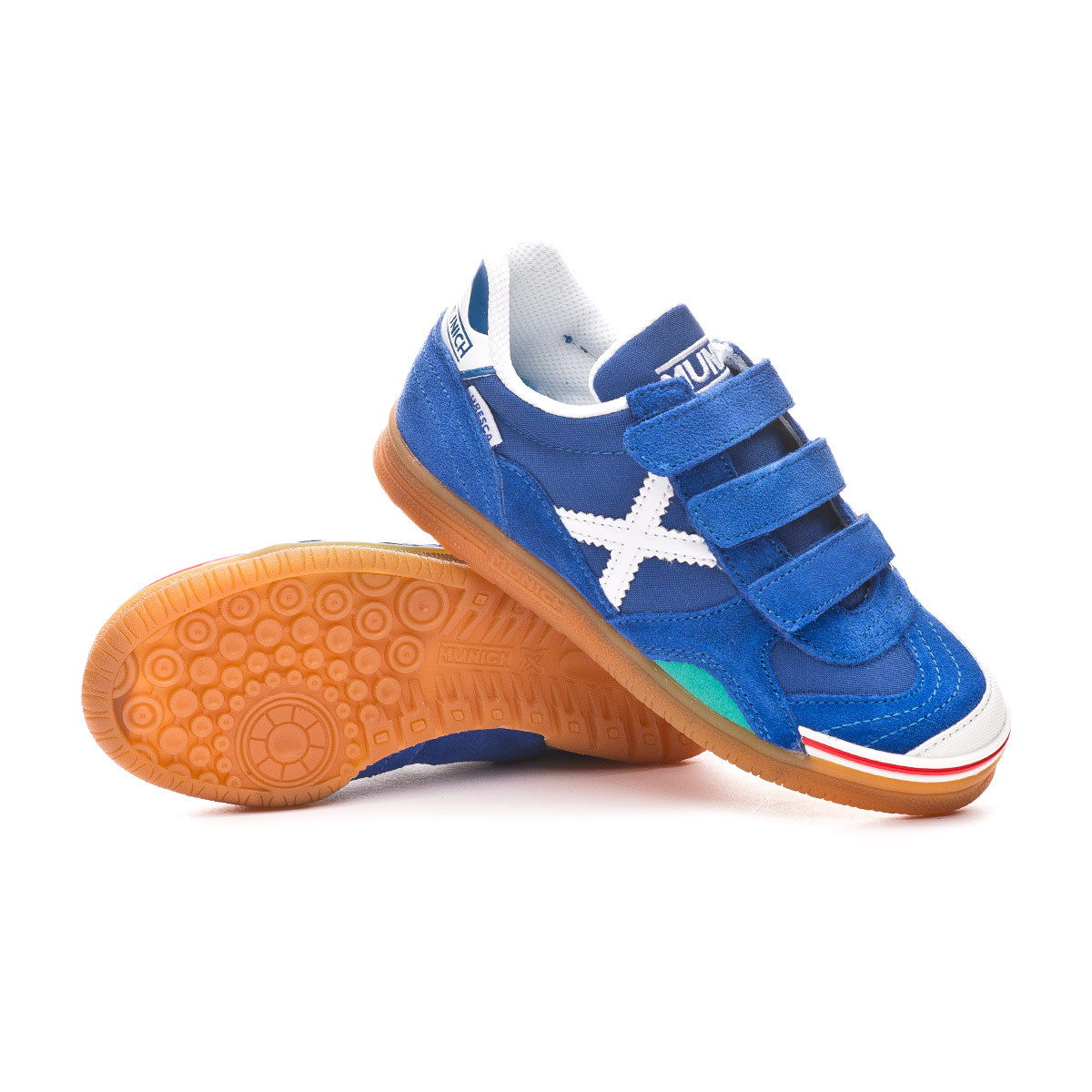 fe310fe1c6b Futsal Boot Munich Kids Gresca Velcro Blue-White - Leaked soccer