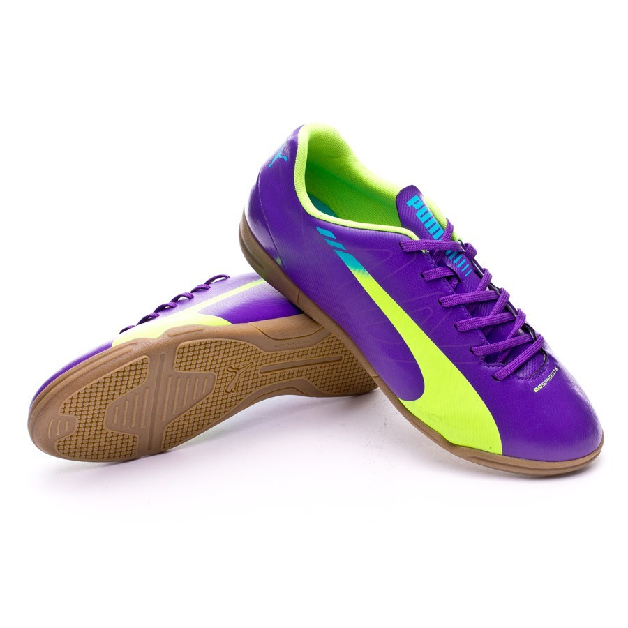 3ae7d6a7842 Futsal Boot Puma evoSPEED 5.3 IT Purple-Yellow - Football store ...