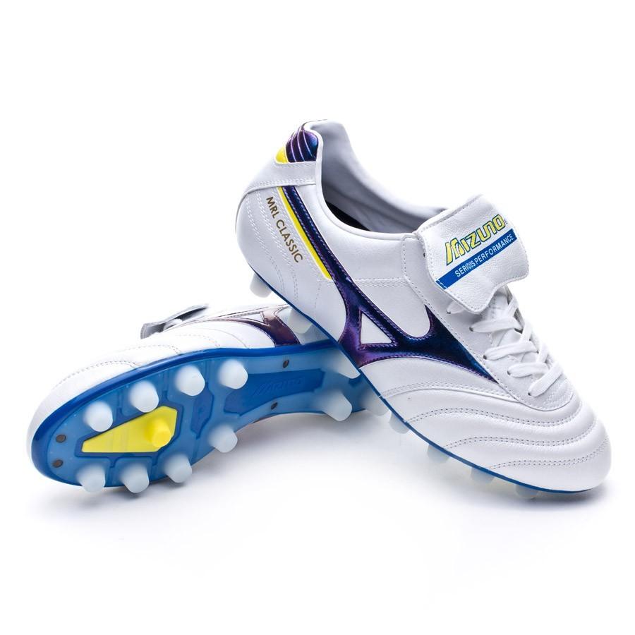 6d3abde23ddb0 Chuteira Mizuno Morelia Classic MD Branco-Roxo-Amarelo - Loja de futebol  Fútbol Emotion