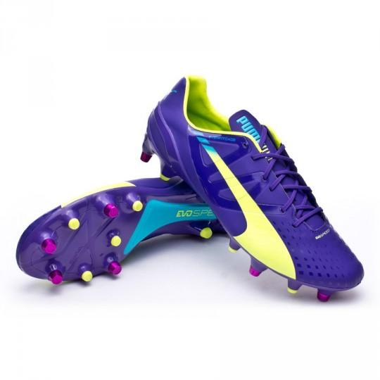 Bota  Puma evoSPEED 1.3 SG Prism violet-Fluor yellow-Escuba blue