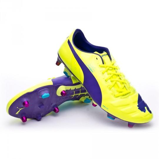 Bota  Puma evoPOWER 1 SG Fluor yellow-Prism violet-Escuba blue