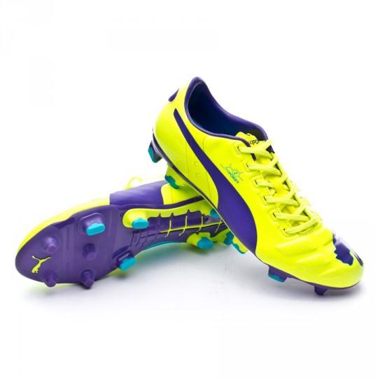 Bota  Puma evoPOWER 2 FG Fluor yellow-Prism violet-Escuba blue