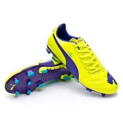 Football Boots Puma evoPOWER 3 FG Fluor yellow-Prism violet-Escuba ...
