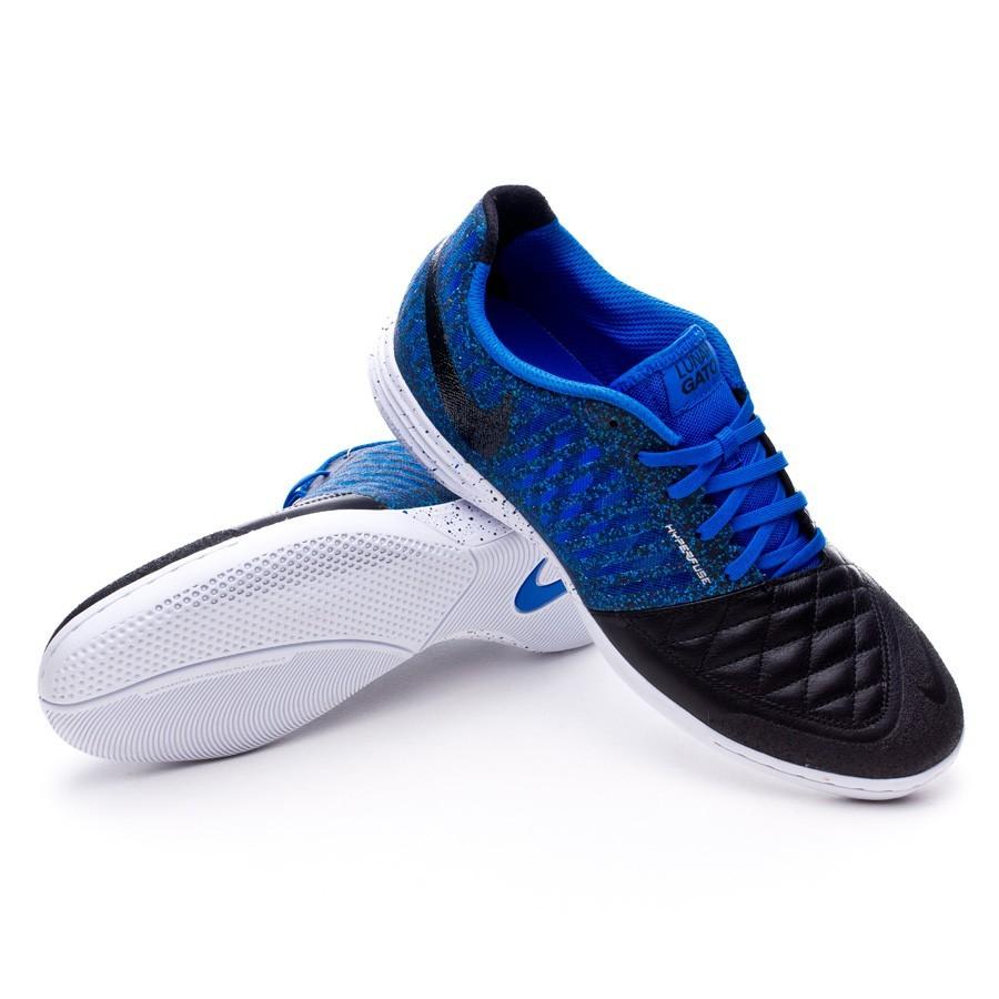 6ecf7ac415fe3 Zapatilla Nike Lunar Gato II Negra-Hyper cobalt - Tienda de fútbol Fútbol  Emotion