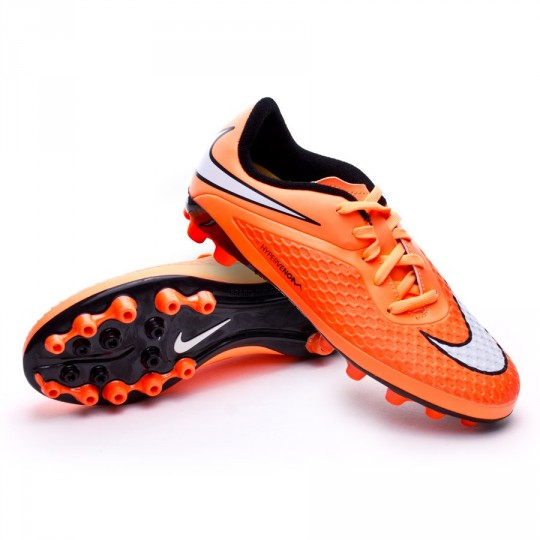 Chuteira  Nike Jr Hypervenom Phelon AG Hyper punch-White-Atomic orange