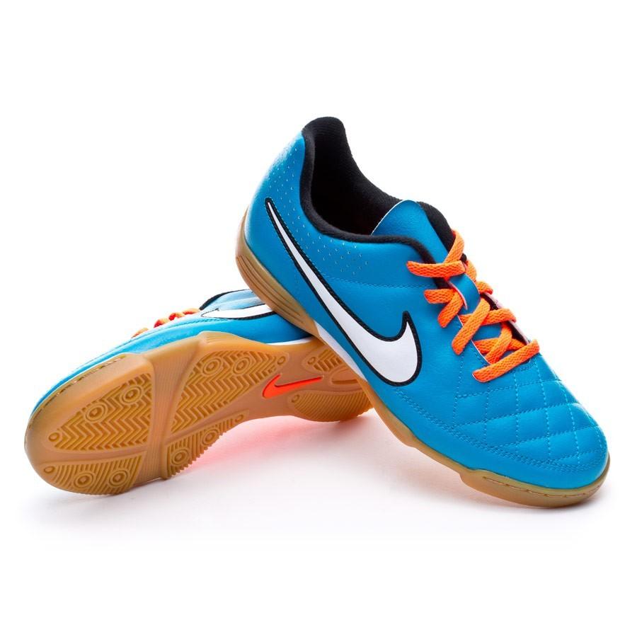 b6ec08979c Futsal Boot Nike Jr Tiempo Rio II IC Neo turquoise-White-Hyper crimson -  Football store Fútbol Emotion