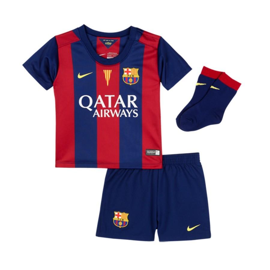 on sale 62f55 b7800 Conjunto Bebe FC Barcelona Primera Equipación 2014-2015 Niño Azul-Granate