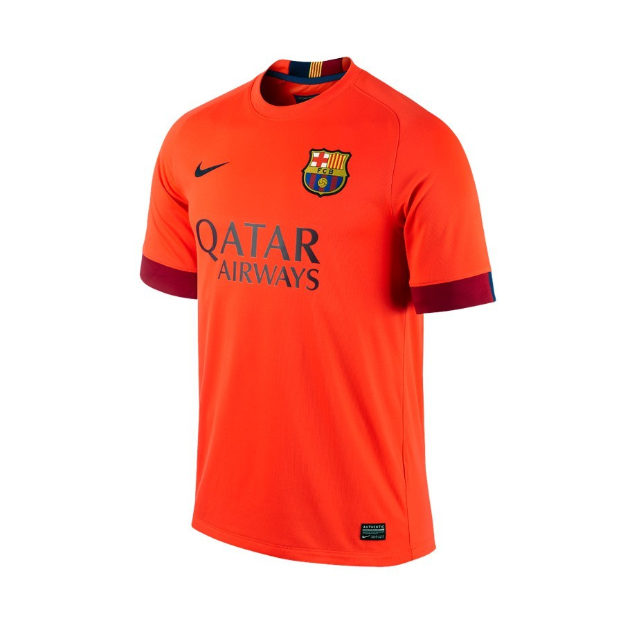 Camiseta Nike FC Barcelona Segunda Equipación 2014-2015 Roja Fluor -  Soloporteros es ahora Fútbol Emotion 90499caae2091
