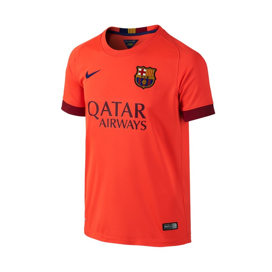 Camiseta Nike FC Barcelona Segunda Equipación 2014-2015 Niño Roja Fluor -  Soloporteros es ahora Fútbol Emotion 7954f09a0c6cb