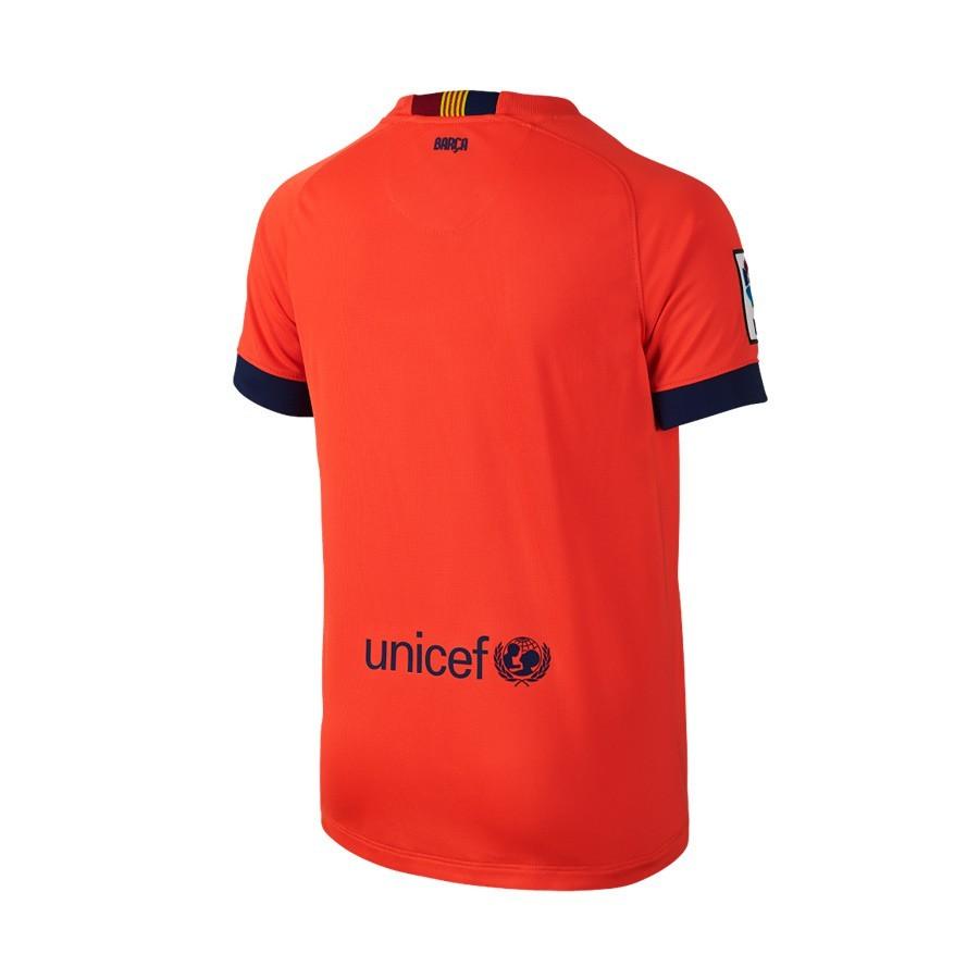 Camiseta Nike FC Barcelona Segunda Equipación 2014-2015 Niño Roja Fluor -  Soloporteros es ahora Fútbol Emotion 21bc96982bae2