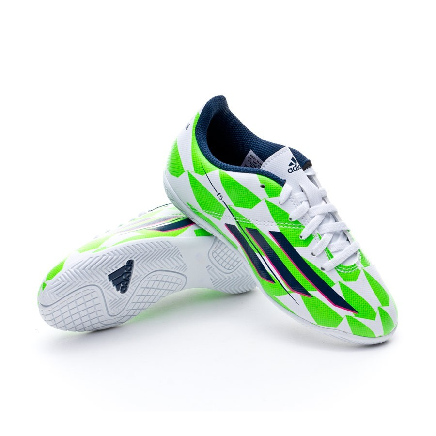 f54576f353c96 Futsal Boot adidas Jr F5 IN Messi Core white-Rich blue-Solar green -  Football store Fútbol Emotion
