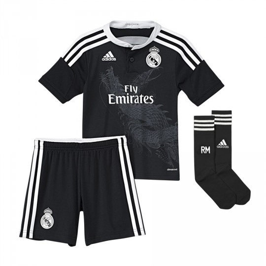 Conjunto  adidas Jr Real Madrid 3ª 2014-2015 Preto