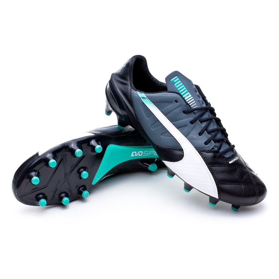 Boot Puma evoSPEED 1.3 FG Leather Black-White-Turbulence-Pool green-Scuba  blue - Football store Fútbol Emotion 06f8631a3fa4