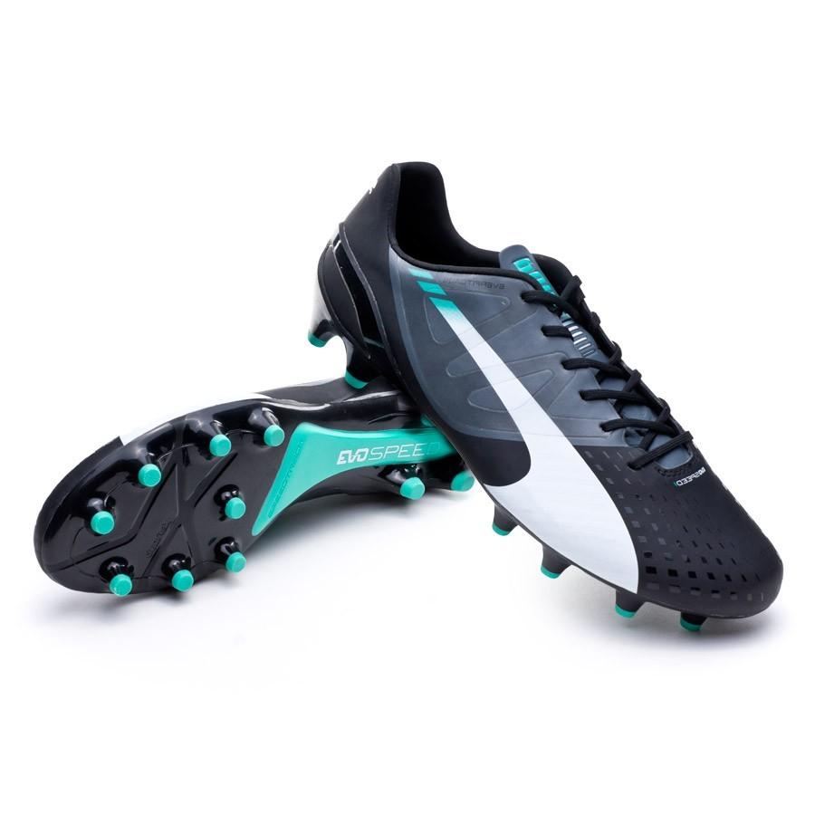 72ed155b16b64 Football Boots Puma evoSPEED 1.3 FG Black-White-Turbulence-Pool green-Scuba  blue - Tienda de fútbol Fútbol Emotion