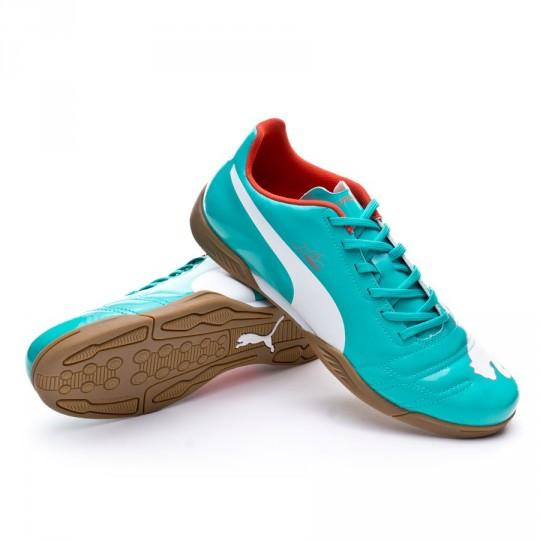 Zapatilla de fútbol sala  Puma evoPOWER 4 IT Pool green-White-Grenadine-Turbulence