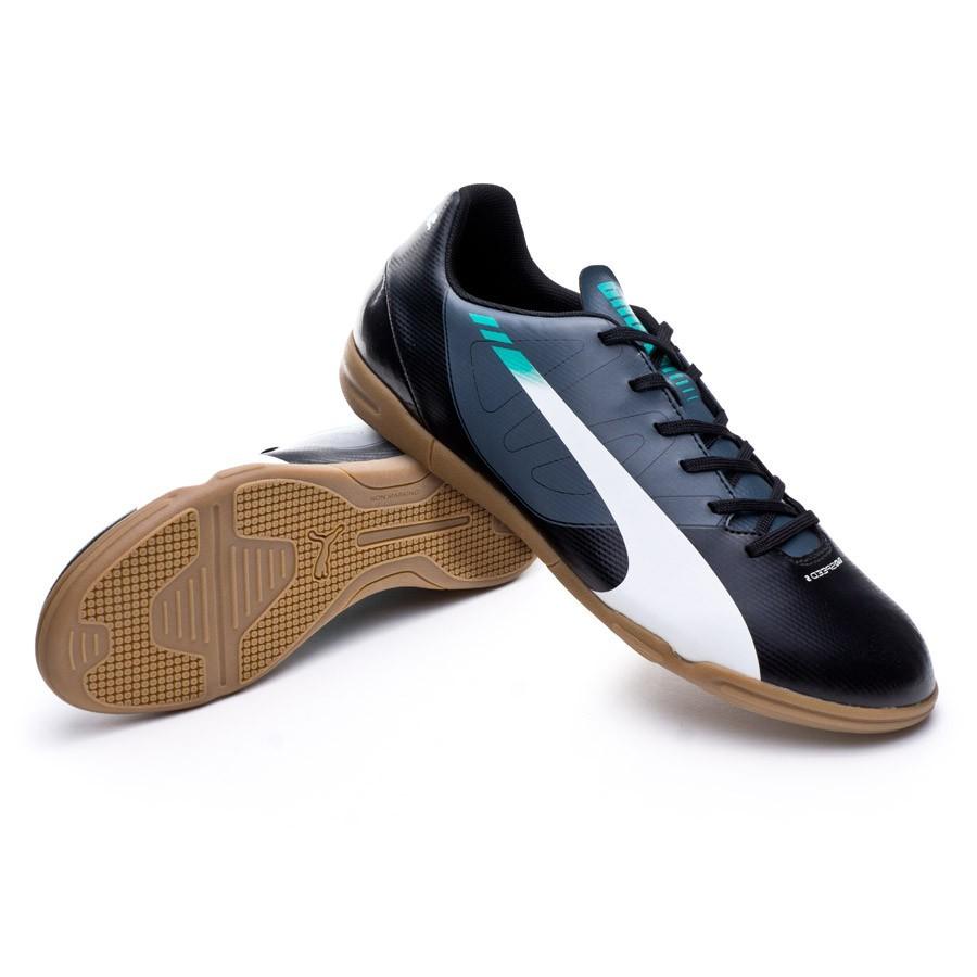 bd0f1b8d28a Futsal Boot Puma evoSPEED 5.3 IT Black-White-Turbulence-Pool green ...