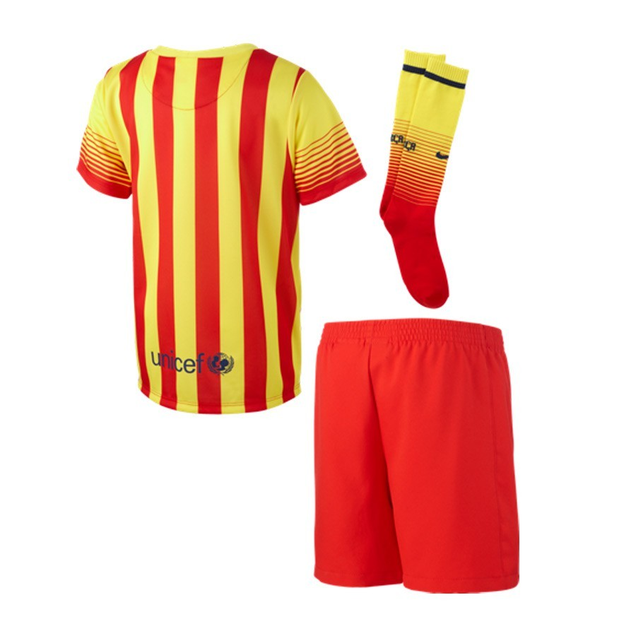 bacb7e81520 Kit Nike Jr FC Barcelona Senyera Away 2014-2015 Red-Yellow - Tienda ...
