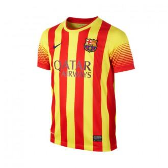 Maillot  Nike Jr FC Barcelone Senyera Away 2014-2015 Rouge-Jaune