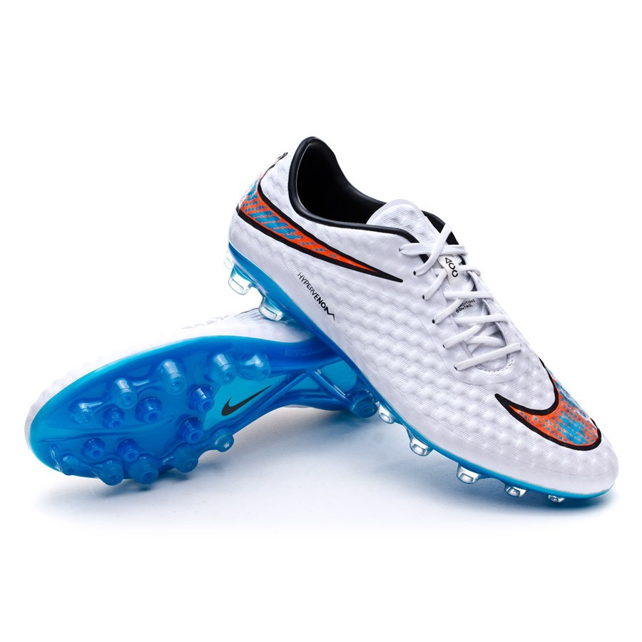 new arrival 42d6a cd9bd Bota Hypervenom Phantom AG-R ACC White-Total crimson-Blue lagoon