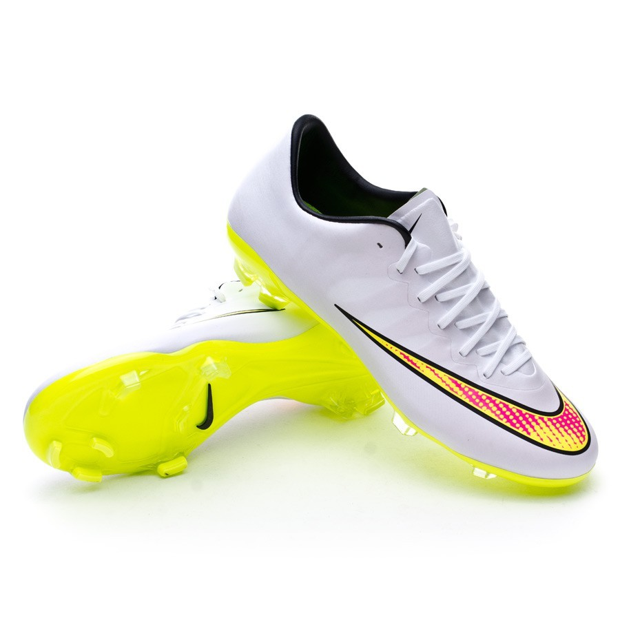sports shoes 9f025 05a8e Football Boots Nike Jr Mercurial Vapor X FG White-Volt-Black-Hyper ...