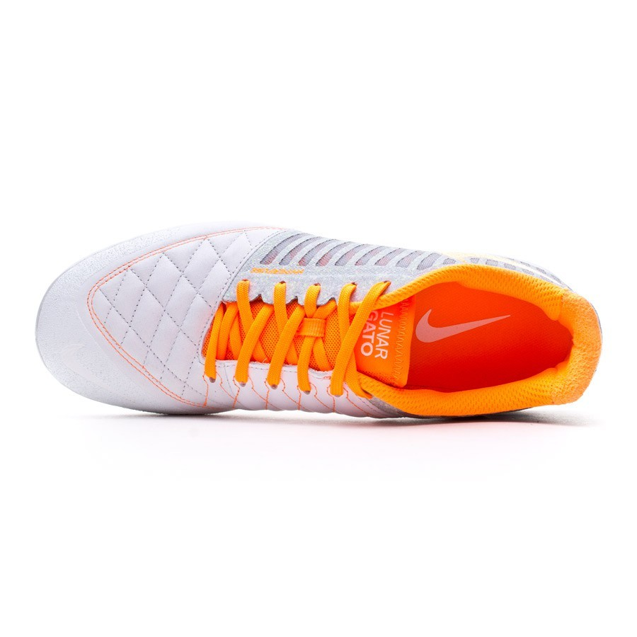 b48be4f11b699d Futsal Boot Nike Lunar Gato II White-Total orange-Wolf orange-Cool grey -  Soloporteros es ahora Fútbol Emotion
