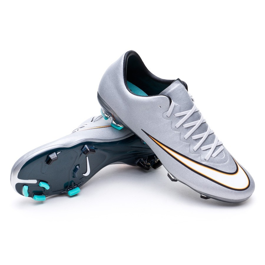 d5418858edfd4 Bota de fútbol Nike Mercurial Vapor X CR7 FG Niño Metallic  silver-White-Hyper turquoise - Tienda de fútbol Fútbol Emotion
