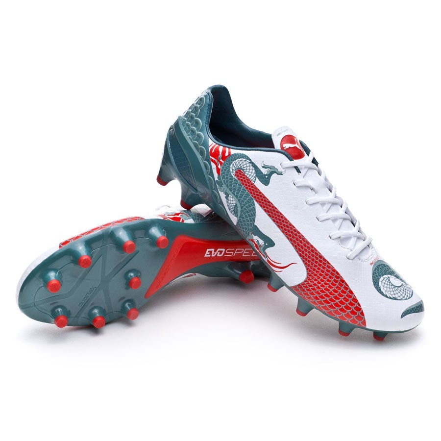 Zapatos de fútbol Puma evoSPEED 1.3 Graphic FG White-Sea pine-High risk red  - Soloporteros es ahora Fútbol Emotion 6a5dc1659d93f