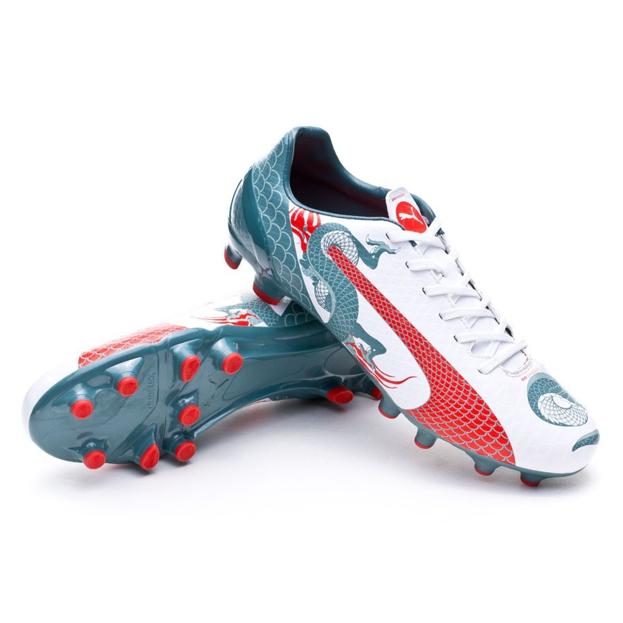 1dd497964a6 ... Bota evoSPEED 4.3 Graphic FG White-Sea pine-High risk red. CATEGORY. Football  Boots · Puma Boots