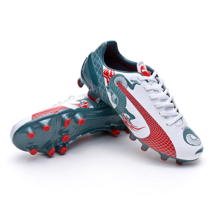 e6dcb01937387 Bota de fútbol Puma evoSPEED 4.3 Graphic FG Niño White-Sea pine-High risk  red - Tienda de fútbol Fútbol Emotion