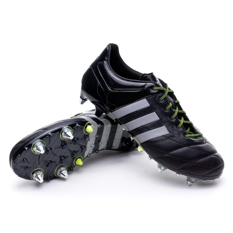 348d94ad2 adidas Ace 15.1 SG Piel Football Boots. Core black-Silver metallic-Solar  yellow ...