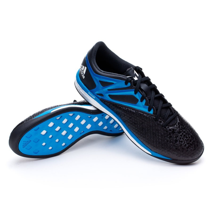 66efc6a01 adidas Messi 15.1 Boost Futsal Boot. Core black-Solar blue-Zero metallic ...