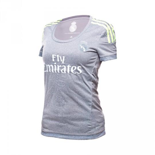 Camiseta  adidas Real Madrid Mujer Away 15-16 Grey-Solar yellow
