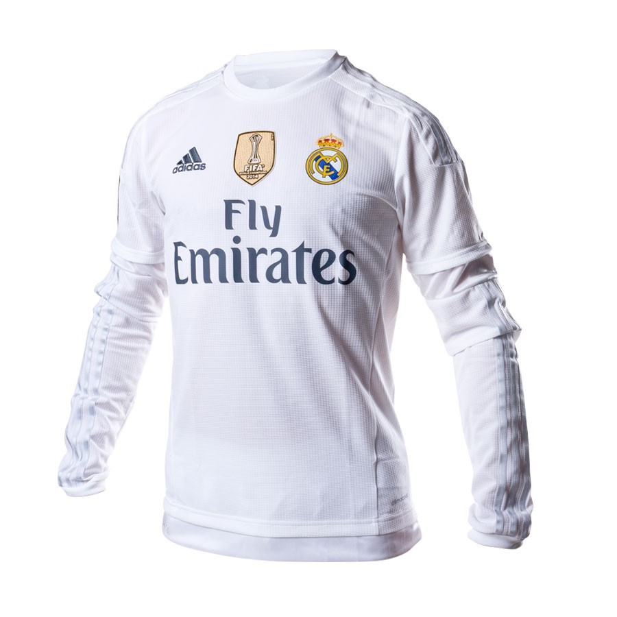 aa545f825 adidas Real Madrid M/L Home 15-16 CL Jersey. White-Clear grey ...