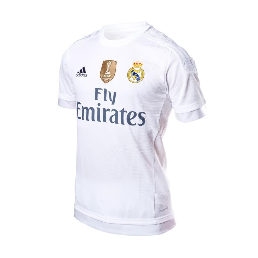 eab3b70a1a1aa Camiseta adidas Real Madrid Primera Equipación 15-16 White-Clear grey -  Tienda de fútbol Fútbol Emotion