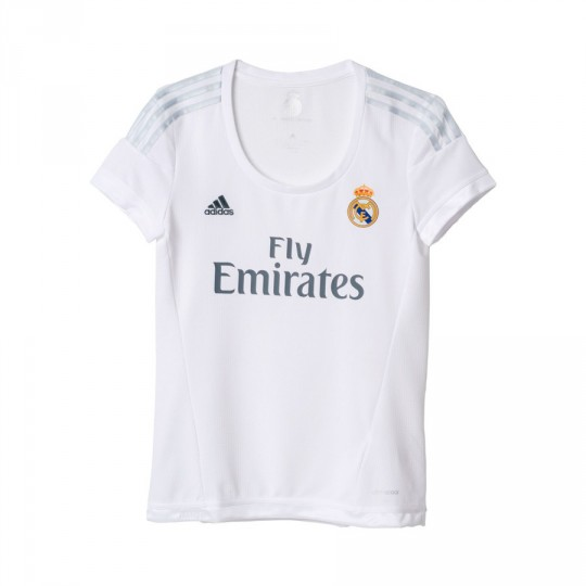 Camiseta  adidas Real Madrid Mujer Home 15-16 White-Clear grey