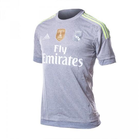 Camiseta  adidas Jr Real Madrid Away 15-16 Grey-Solar yellow