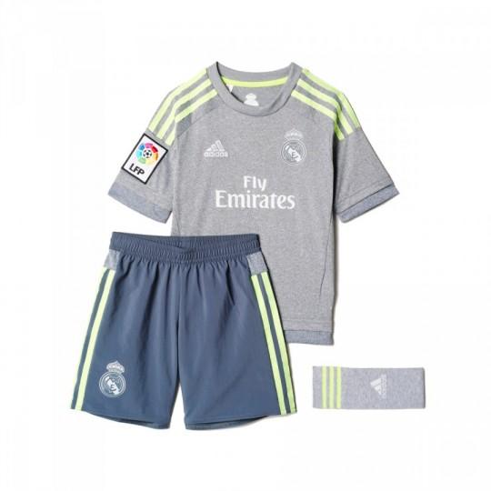 Conjunto  adidas jr Real Madrid Away 15-16 Grey-Solar yellow