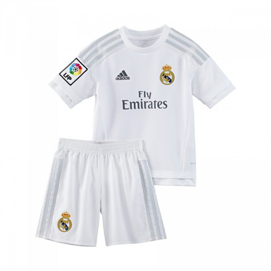 Conjunto  adidas jr Real Madrid Home 15-16 White-Clear grey
