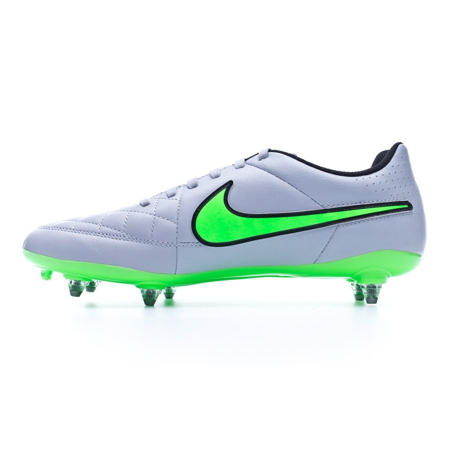 separation shoes ac19d aa10b Chaussure de foot Nike Tiempo Genio Leather SG Wolf grey-Green strike-Black  - Boutique de football Fútbol Emotion