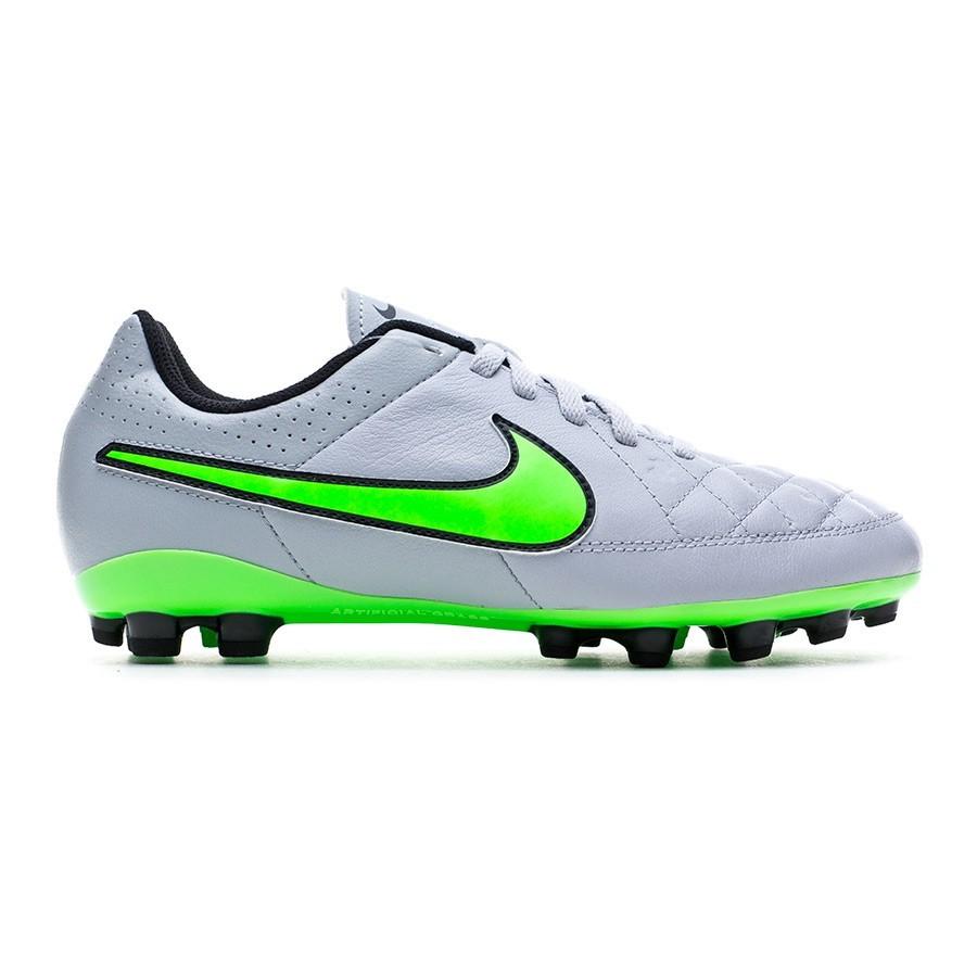 online store b1859 fbca0 Chaussure de foot Nike Jr Tiempo Genio Leather AG Wolf grey-Green  strike-Black - Boutique de football Fútbol Emotion