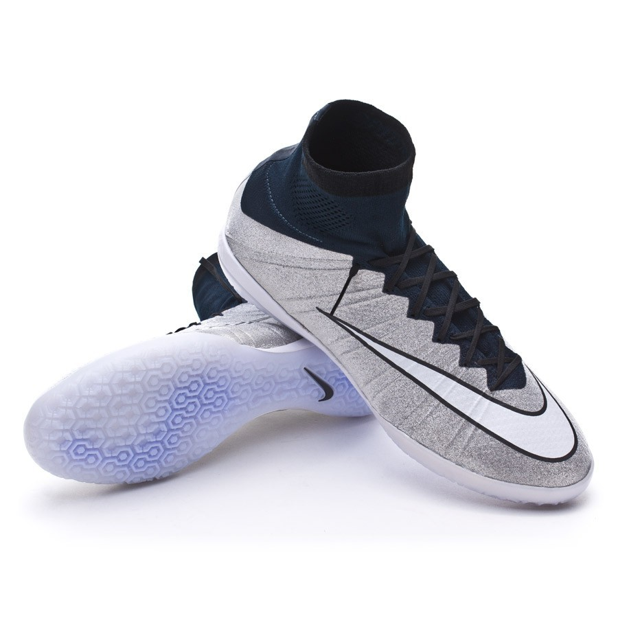 Sapatilha de Futsal Nike MercurialX Proximo SE IC CR7 Metallic  silver-White-Dark obsidian - Loja de futebol Fútbol Emotion 89e70431d6e90