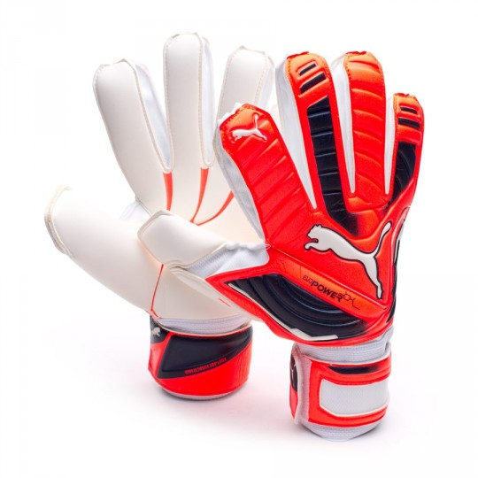 Guante  Puma evoPOWER Grip 1 White-Fiery coral-Total eclipse