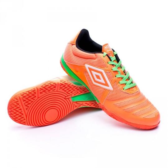 Chaussure de futsal  Umbro Vision League 4 Fiery coral-White-Green gecko