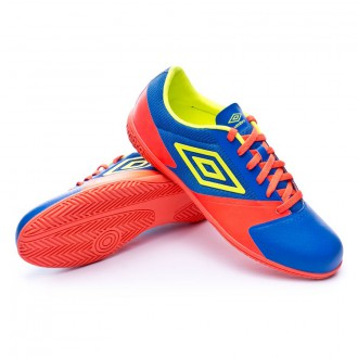 Zapatilla de fútbol sala  Umbro Futsal Street 4 Team royal-Safety yellow-Fiery coral