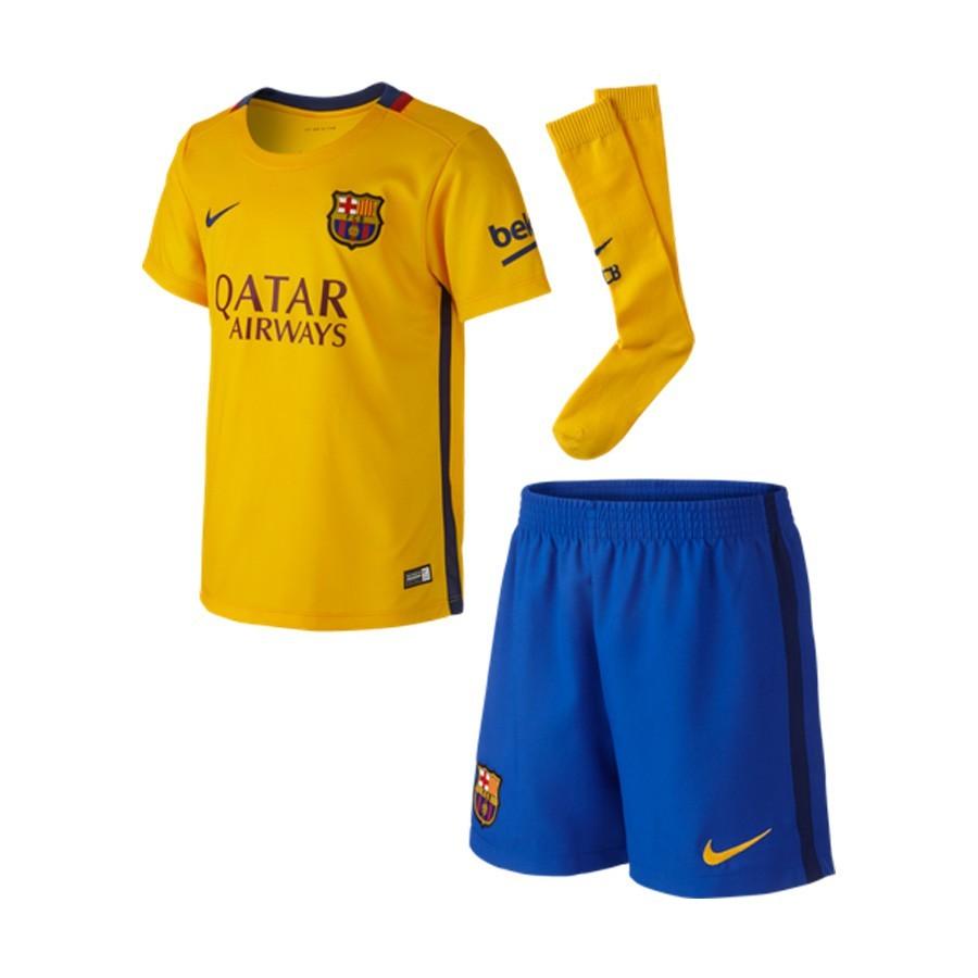 c87c7e842a581 Conjunto Nike FC Barcelona Segunda Equipación 2015-2016 Niño University  gold-Loyal blue - Tienda de fútbol Fútbol Emotion