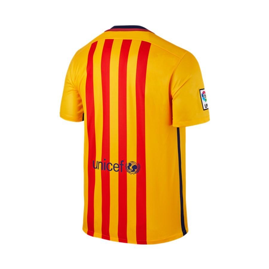 Camiseta Nike FC Barcelona Segunda Equipación 2015-2016 University  gold-Loyal blue - Soloporteros es ahora Fútbol Emotion ae5e875692534