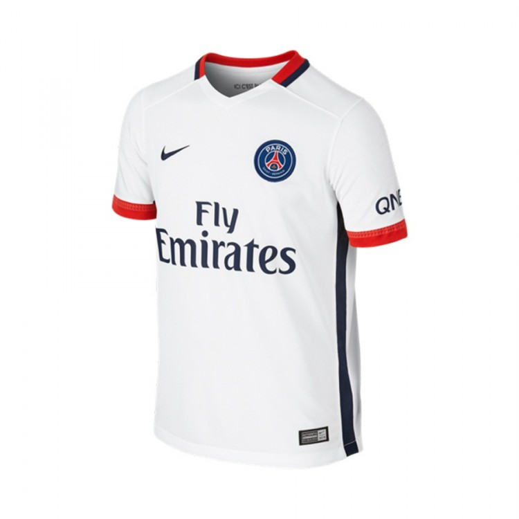 Jersey Nike PSG Away Stadium 2015-2016 White-Midnight navy ... f3d1f725bc455