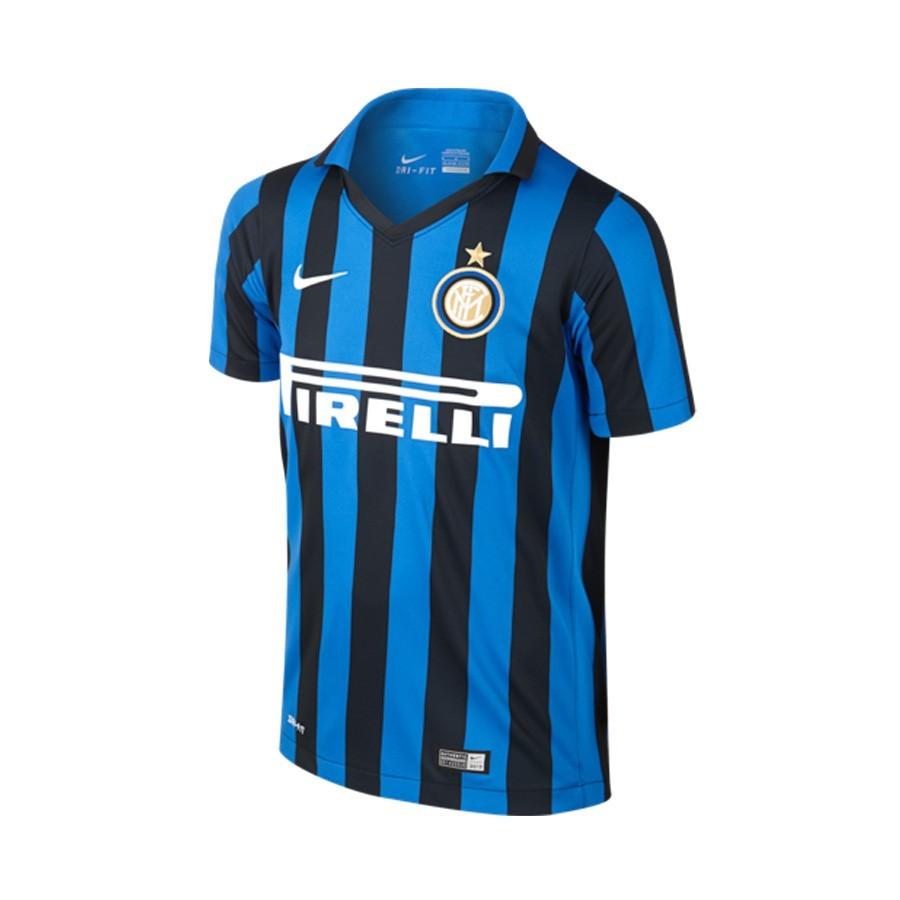 92dac0d0 Nike Jr Inter Milán Home Stadium 2015-2016 Jersey. Black-Royal blue-White  ...