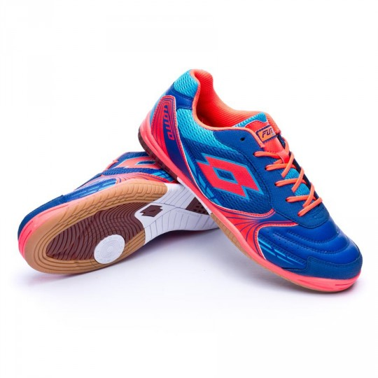 Sapatilha de Futsal  Lotto Tacto 500 ID Royal-Coral diva